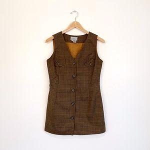 Vintage For Pete's Sake Brown Vest Mini Dress
